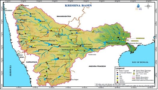 कृष्णा नदीपात्राचा नकाशा (स्रोत: केंद्रीय जल आयोगाने प्रकाशित कृष्णा बेसिन प्रोफाइल)